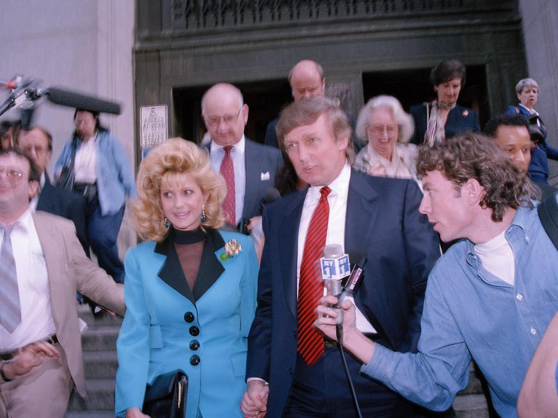 Ivana and Donald Trump divorced in 1991, then battled in court afterwards. They're shown here leaving court in 1993. Ivana emerged from the divorce proceedings with ownership of the house.