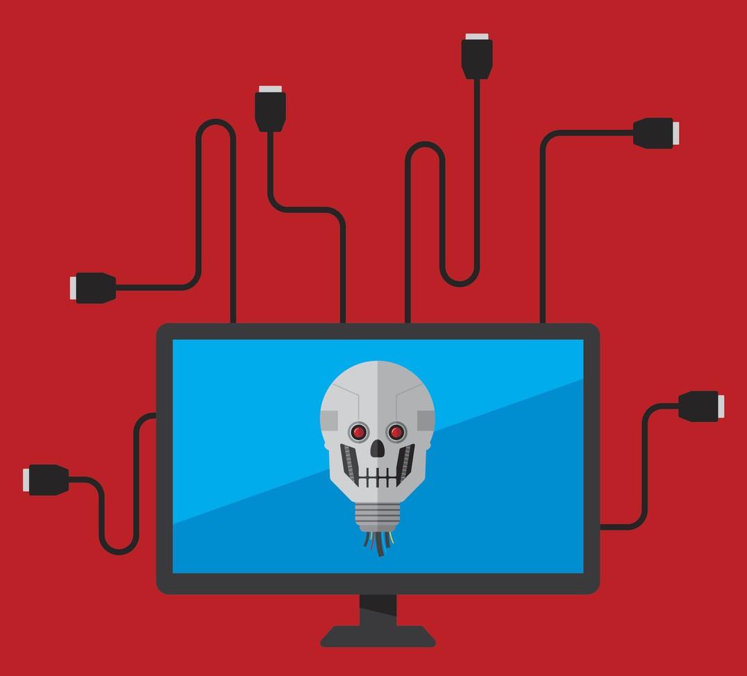 Skull on computer