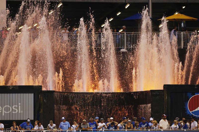 Fans by Kauffman Stadium fountains