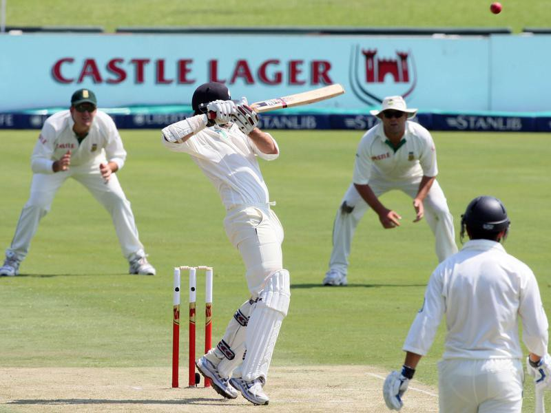 Stephen Fleming helps the ball over