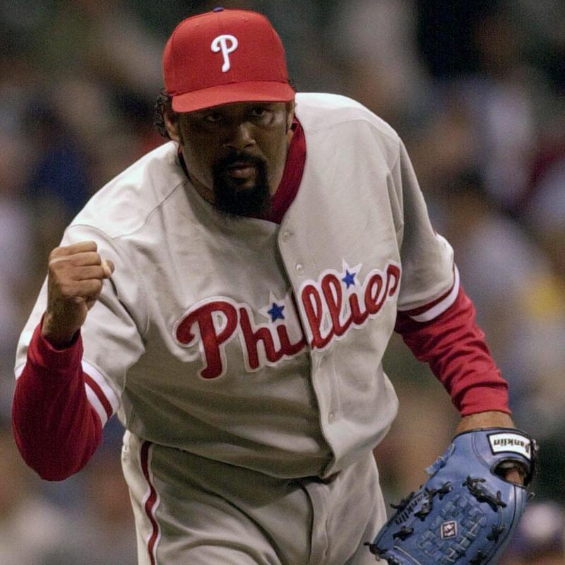 Philadelphia Phillies' Jose Mesa reacts