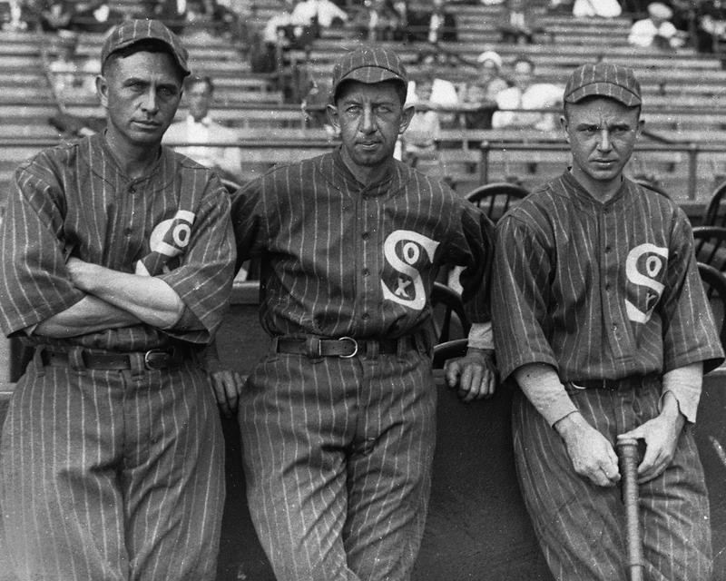 Harry Hooper, Eddie Collins, and Ray Schalk, stand together