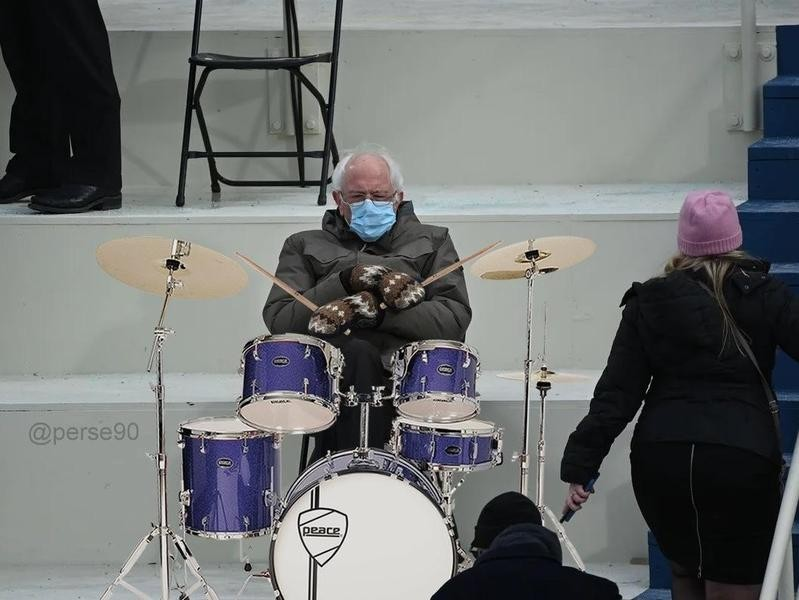 Bernie Sanders on drums
