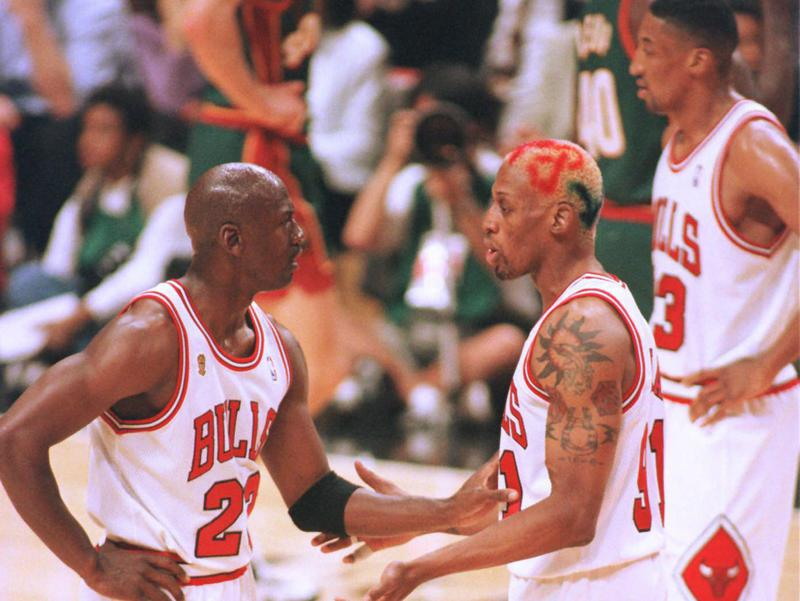 Michael Jordan, Dennis Rodman, Scottie Pippen