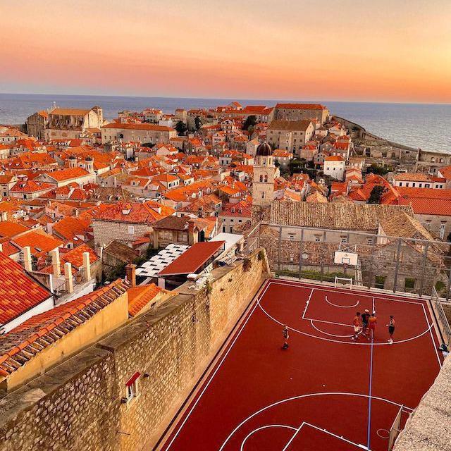 City Wall Rooftop Court in Dubrovnik, Croatia