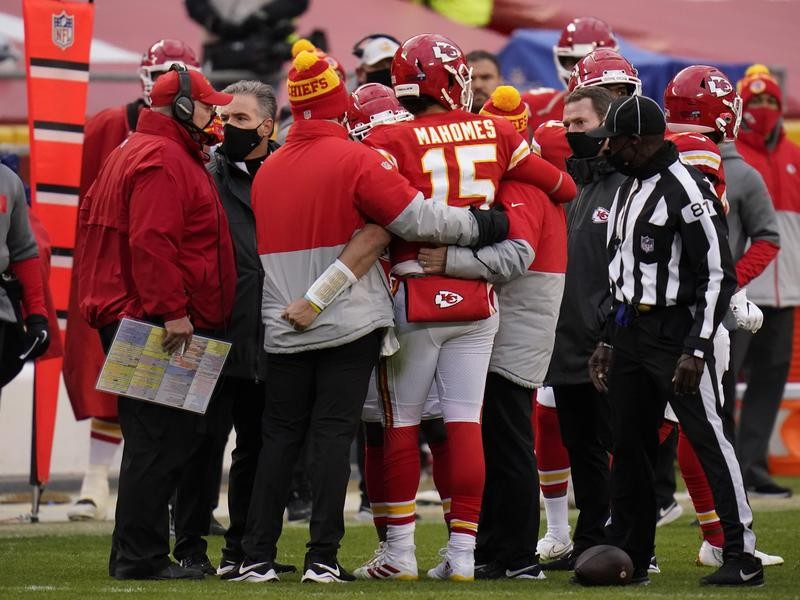 Patrick Mahomes is helped off the field against the Cleveland Browns