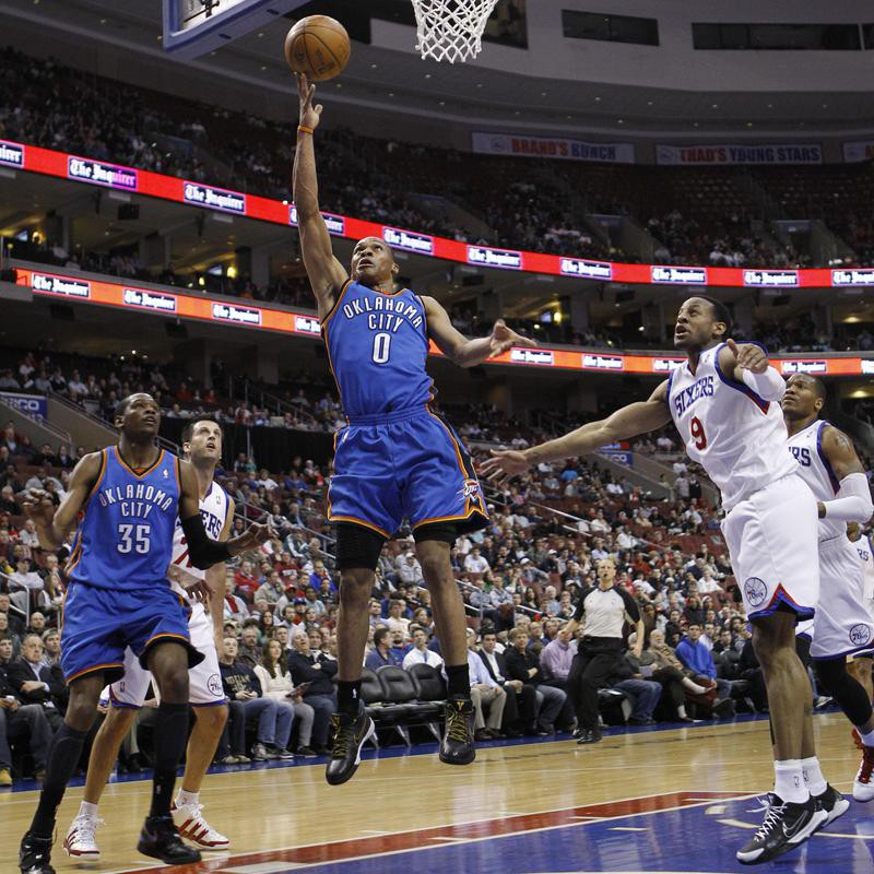 Russell Westbrook of Oklahoma City drives to basket