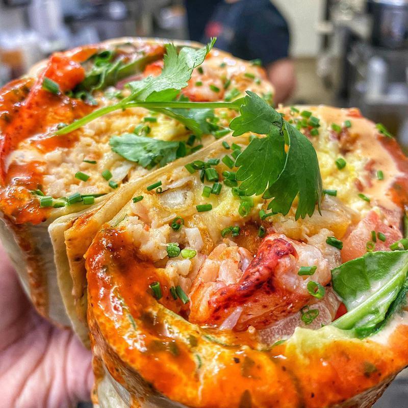 Lobster breakfast burrito