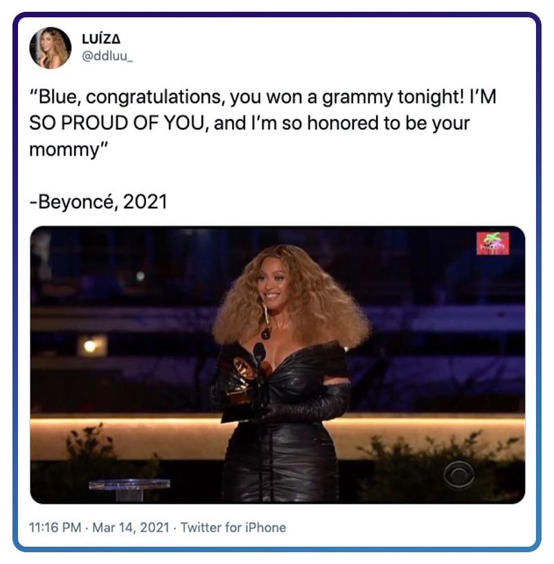 Twitter Beyoncé congratulates Blue Ivy for winning her first Grammy