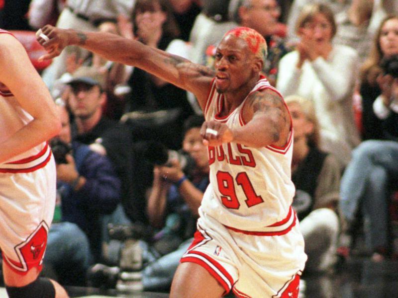 Chicago Bulls' Dennis Rodman reacts