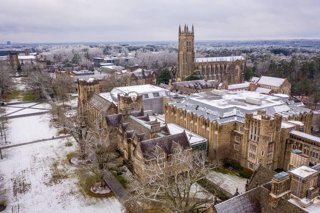 Duke University during winter