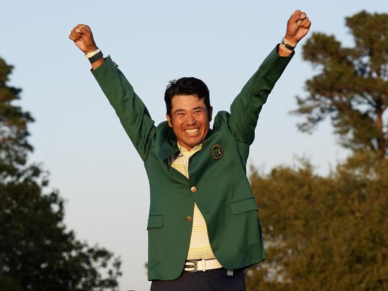Hideki Matsuyama celebrates