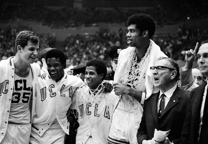 UCLA coach John Wooden celebrates with Mike Lynn, Lucius Allen, Mike Warren and Lew Alcindor after beating North Carolina