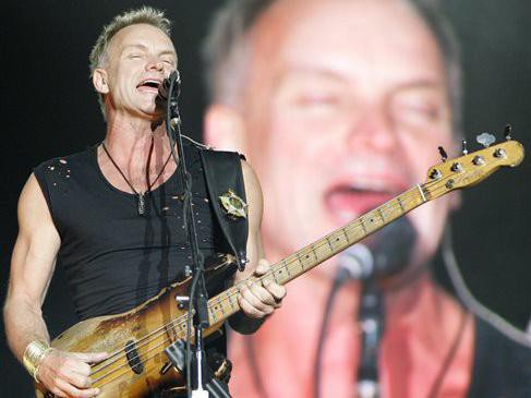 Sting performs at the Tokyo Dome in 2008