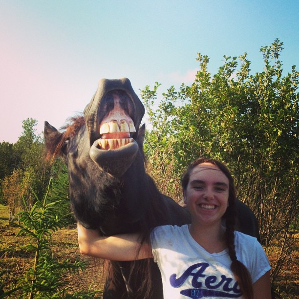 Girl Smiling With Horse