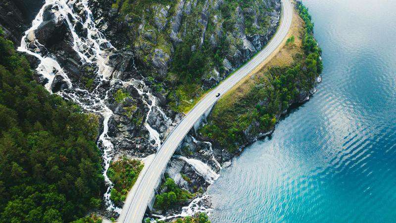 Aerial photo of a winding road in Norway