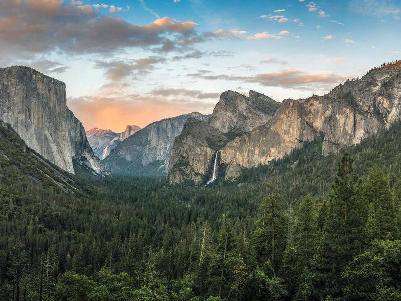 Panorama of Yosemite Valley at sunset