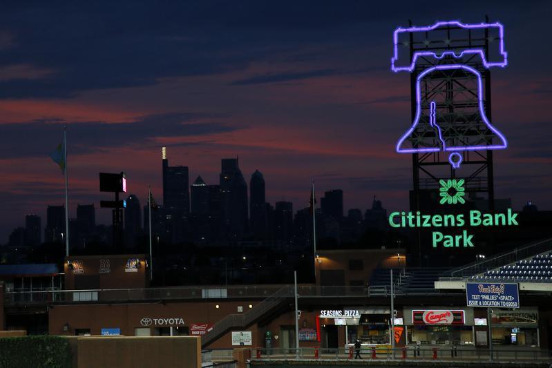 The Philadelphia skyline at Citizens Bank Park