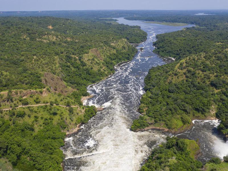 Famous Murchison Falls at the Nile River in Uganda