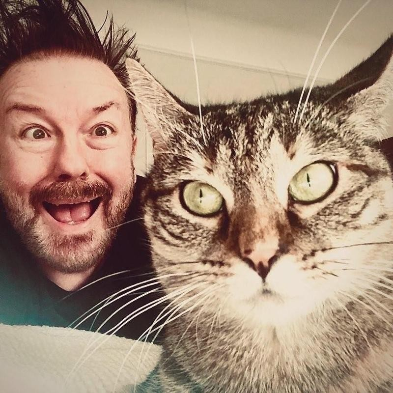 Catkins with Dad, Ricky Gervais
