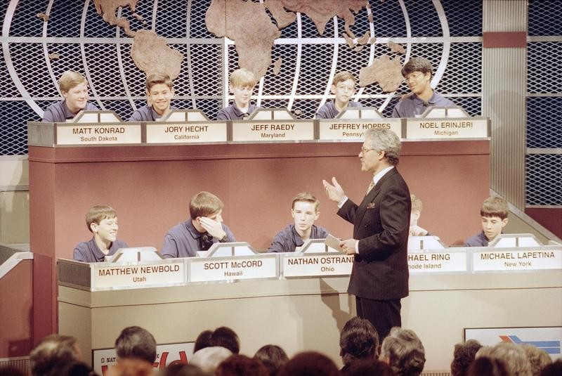 Alex Trebek hosting the National Geography Bee in Washington, D.C., in 1993