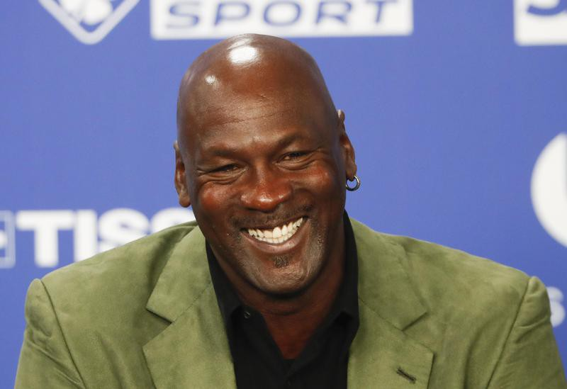 Michael Jordan speaks during a press conference