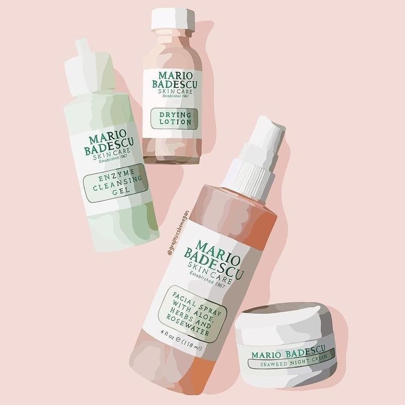 Graphic design work of Mario Badescu Drying Lotion and other products