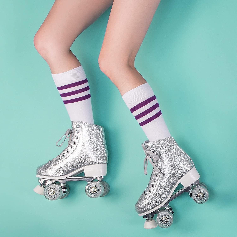 Skate Gear sparkly retro quad roller skates