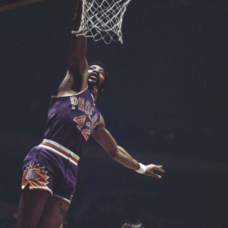 Connie Hawkins goes to the basket