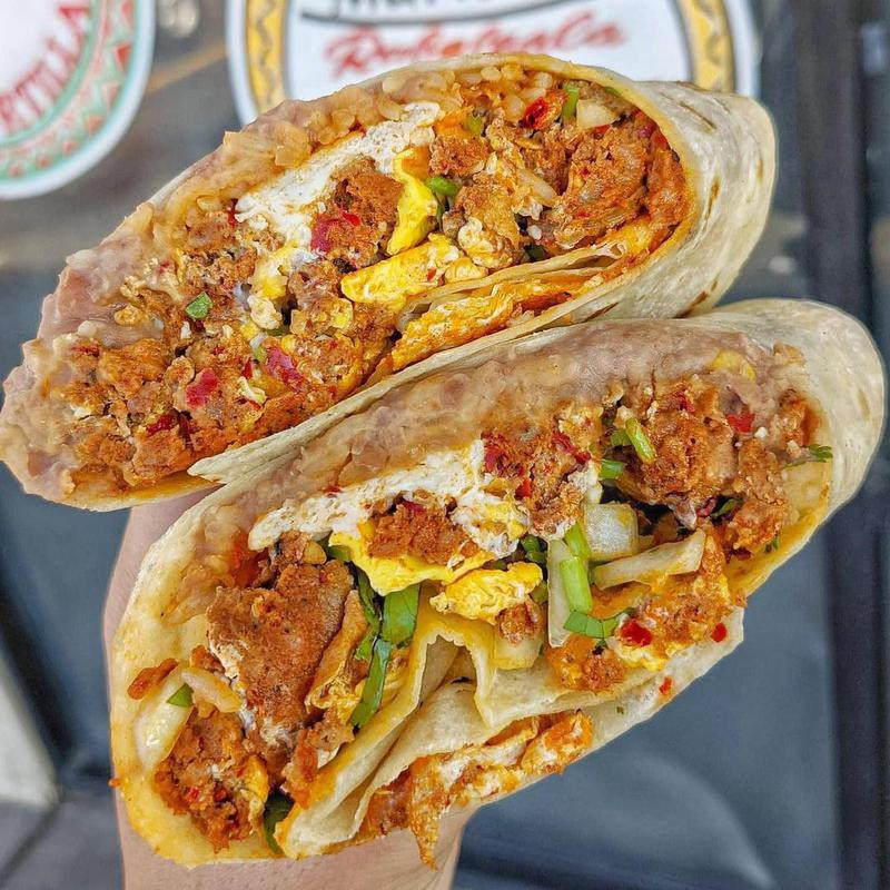 Chorizo breakfast burrito at La Reina Market