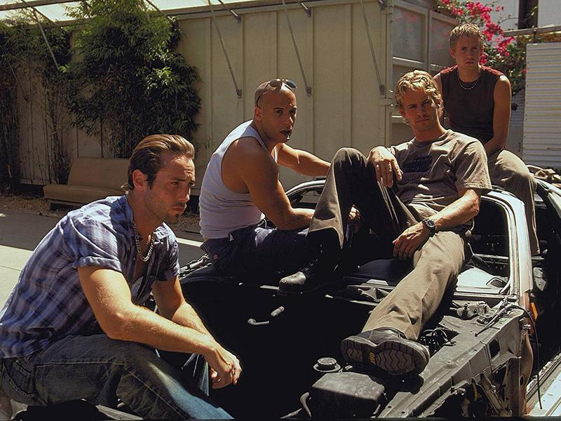 Vin Diesel, Chad Lindberg, Johnny Strong, and Paul Walker in The Fast and the Furious (2001)