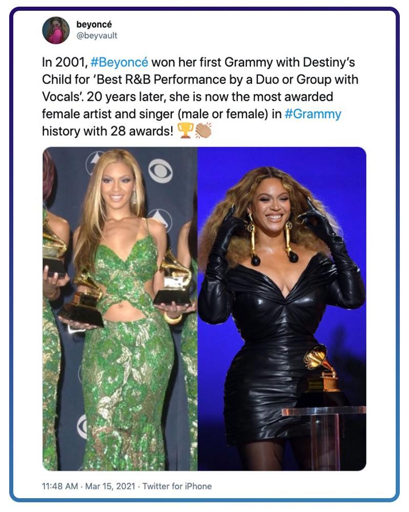 Beyoncé won her first Grammy in 2001