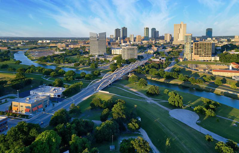 Aerial view of downtown Fort Worth Texas