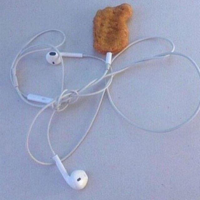 Chicken nugget and headphones
