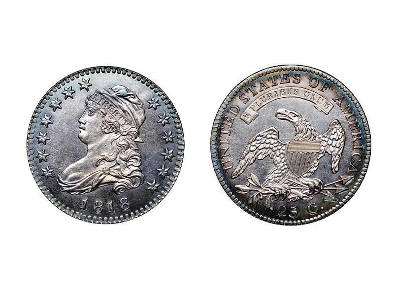 1818 B-8 Capped Bust Quarter