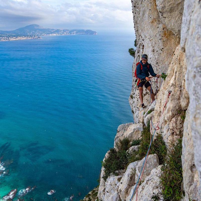 Climber at Calpe in Costa Blanca, Spain