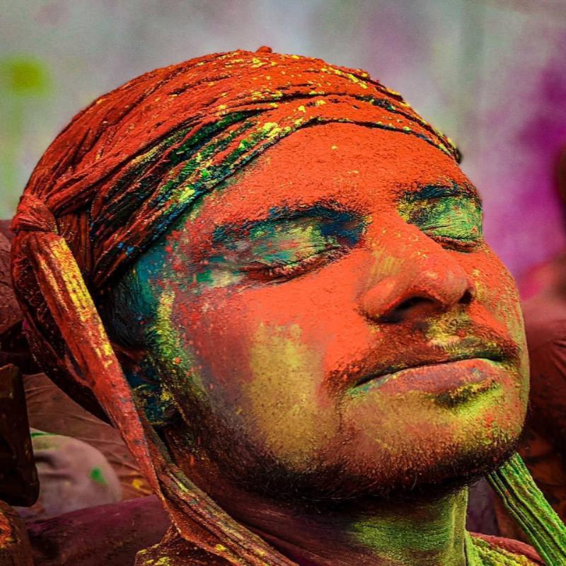 Man in Holi festival