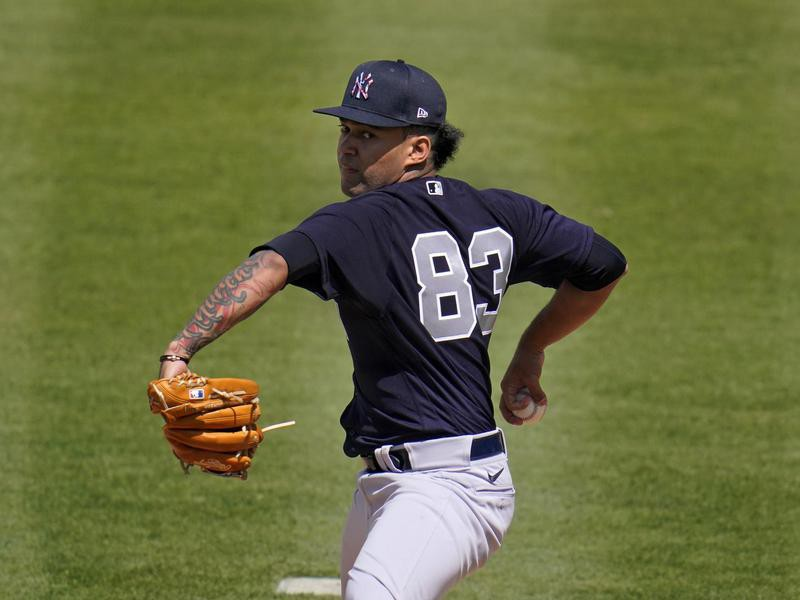 New York Yankees starting pitcher Deivi Garcia delivers