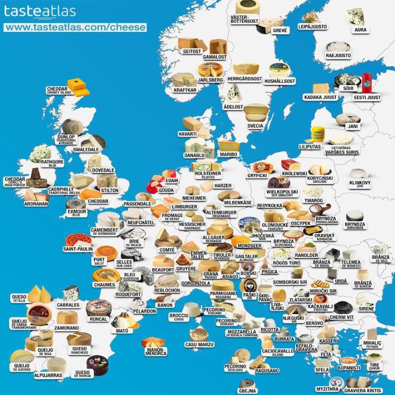 Map of European cheese