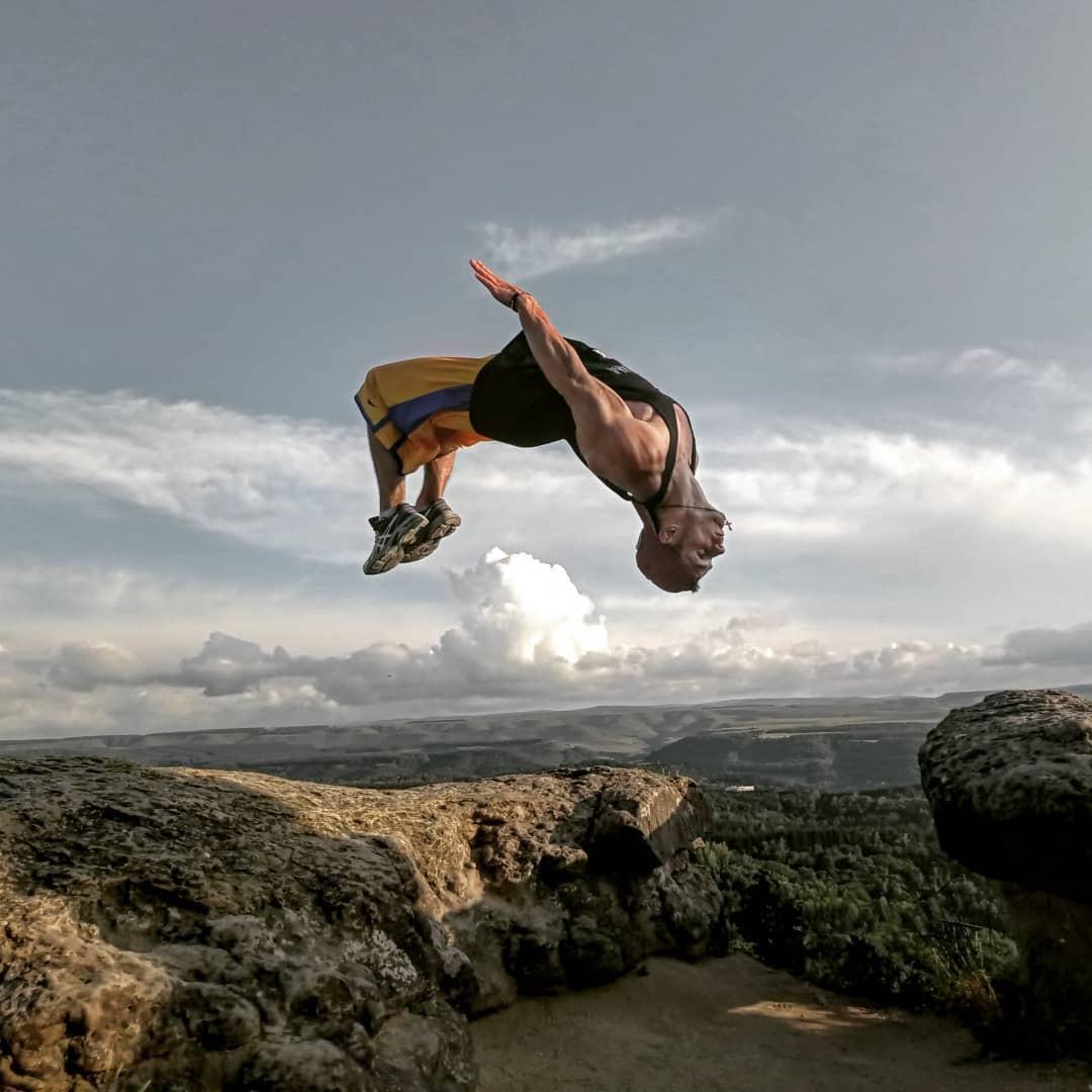 Person backwards jumping