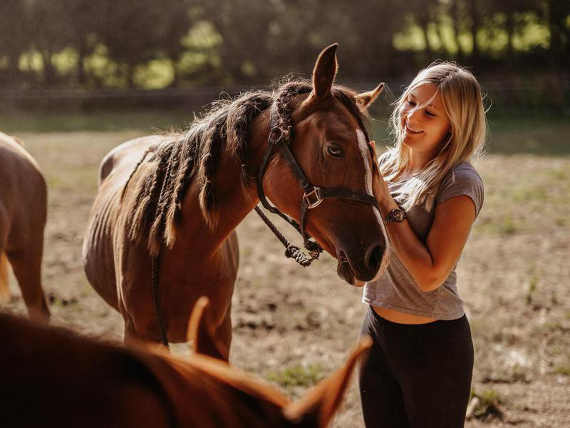 Young girl stroking her Arabian brown mare