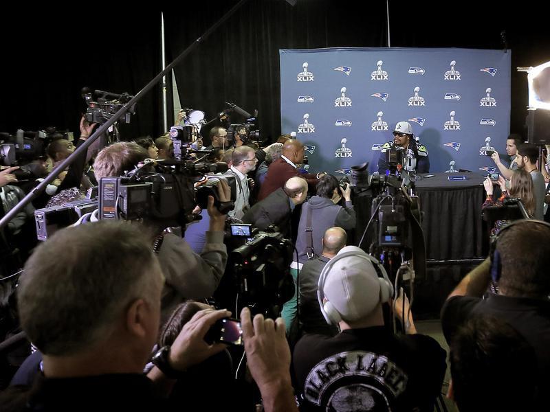 Marshawn Lynch at Super Bowl media day