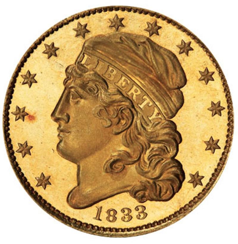 1833 Capped Head Left Half Eagle