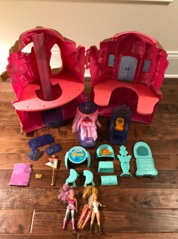 She-Ra Princess of Power Crystal Castle laid out on floor