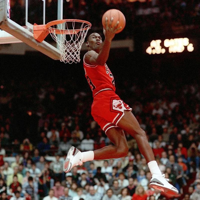 Michael Jordan of Chicago Bulls in slam dunk competition