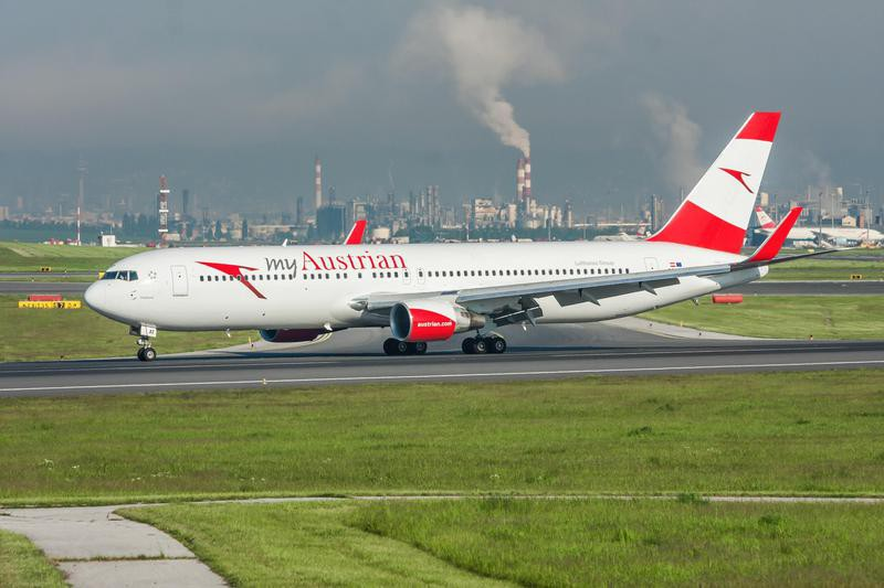 Austrian Airlines plane on runway