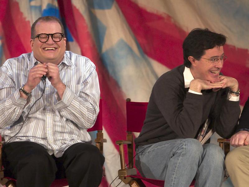 Stephen Colbert (right) and comedian Drew Carey participate in the U.S. Comedy Arts Festival in Aspen, Colorado, in 2004.