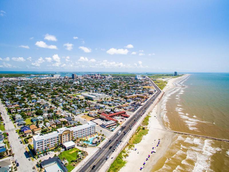 Galveston Texas Sea Wall and Beach