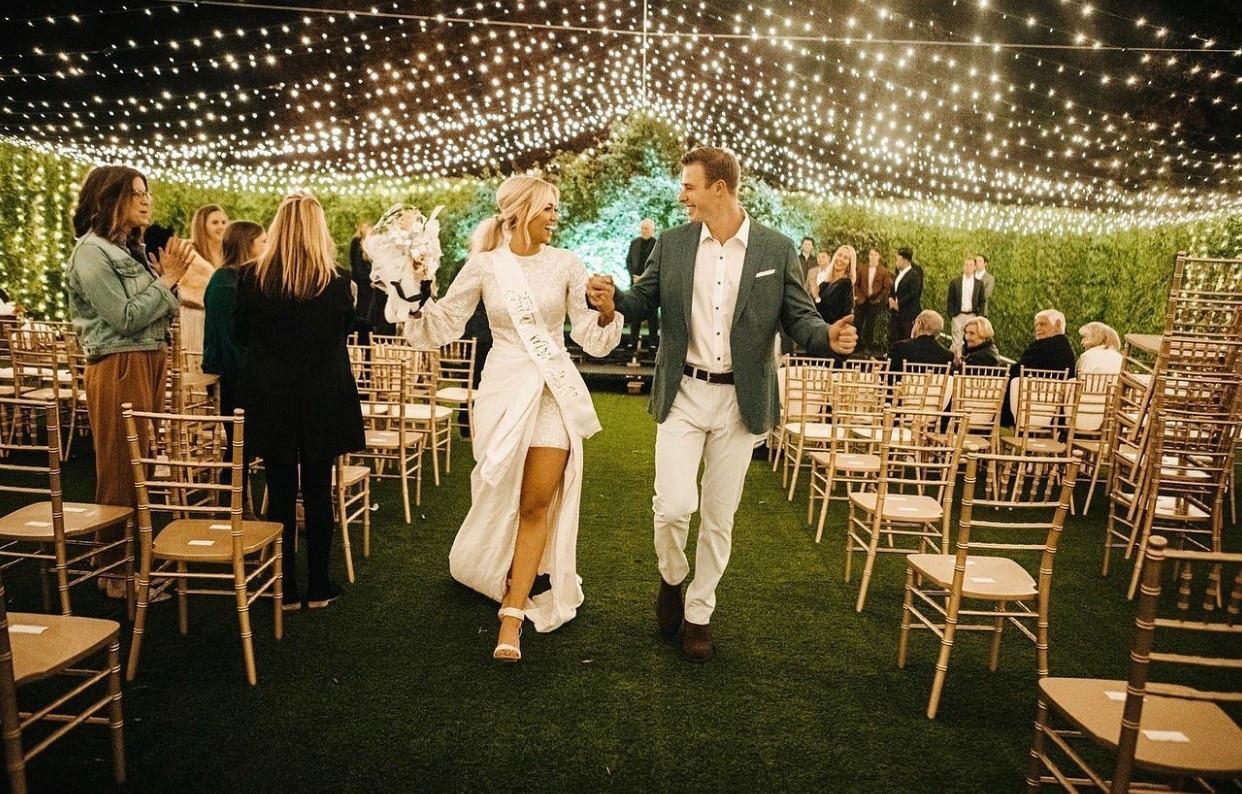 Tennis court transformation for Sadie Robertson's wedding