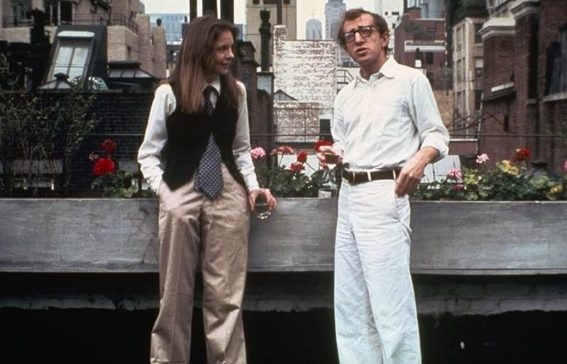 Woody Allen and Diane Keaton conversing in Annie Hall